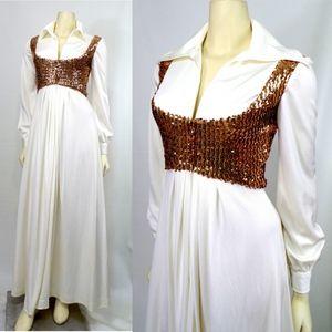 Vintage White Sequin Maxi Elvis Dress Retro Boho